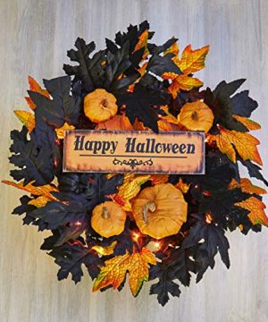The Lakeside Collection Lighted Halloween Wreath With Miniature Pumpkins Faux Fall Foliage 0 300x360