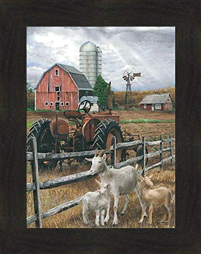 The Old Tractor By Ed Wargo 16x20 Saanen Goats Kids Red Barn Silo Windmill Farm Field Country Framed Art Wall Decor Picture 0