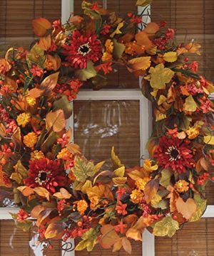The Wreath Depot Highland Silk Fall Door Wreath 22 Inches Beautiful White Gift Box Included 0 300x360