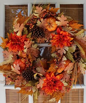 The Wreath Depot Oakwood Silk Fall Door Wreath 22 Inches Beautiful White Gift Box Included 0 300x360