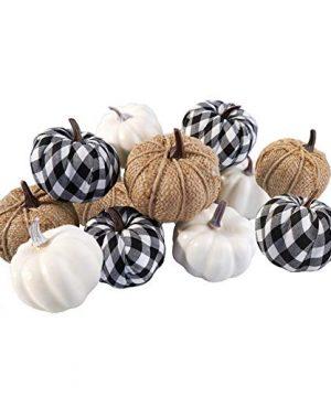 Ticlooc 12pcs Mixed Artificial Pumpkins Fake Harvest Pumpkins For Fall Wedding Thanksgiving Halloween Fireplace Decoration 0 300x360