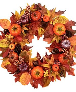 Tiny Land 22 Fall Wreath For Front Door Fall Decor With Storage Box Handcrafted Boxwood Base Ideal Fall Porch Decor For Autumn Halloween Thanksgiving Day Fall Decorations For Home 0 300x360