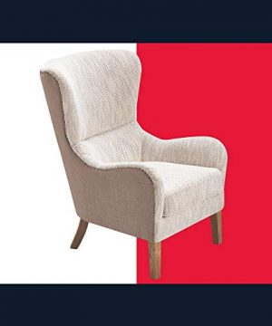 Tommy Hilfiger Warner Wingback Upholstered Accent Chair Modern Farmhouse Reading High Back Armchair For Living Room Two Toned Fabric Brown And Herringbone Beige 0 300x360