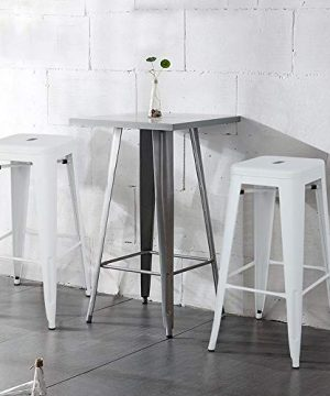 Topeakmart 30 Inches Metal Bar Stools High Backless Barstool Stackable Bar Height Stools Chairs White Set Of 4 0 0 300x360