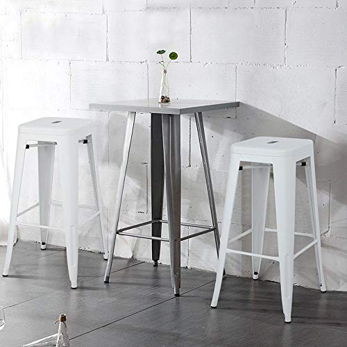 Topeakmart 30 Inches Metal Bar Stools High Backless Barstool Stackable Bar Height Stools Chairs White Set Of 4 0 0