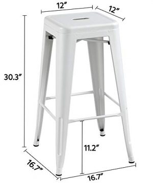 Topeakmart 30 Inches Metal Bar Stools High Backless Barstool Stackable Bar Height Stools Chairs White Set Of 4 0 1 300x360