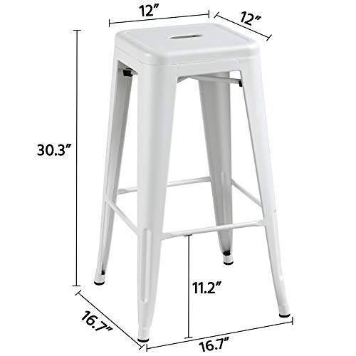 Topeakmart 30 Inches Metal Bar Stools High Backless Barstool Stackable Bar Height Stools Chairs White Set Of 4 0 1