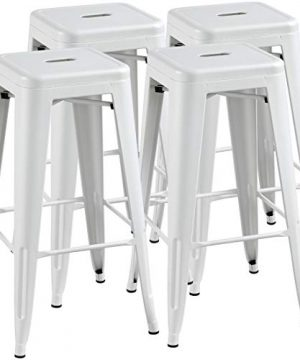 Topeakmart 30 Inches Metal Bar Stools High Backless Barstool Stackable Bar Height Stools Chairs White Set Of 4 0 300x360