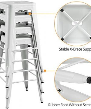 Topeakmart 30 Inches Metal Bar Stools High Backless Barstool Stackable Bar Height Stools Chairs White Set Of 4 0 4 300x360