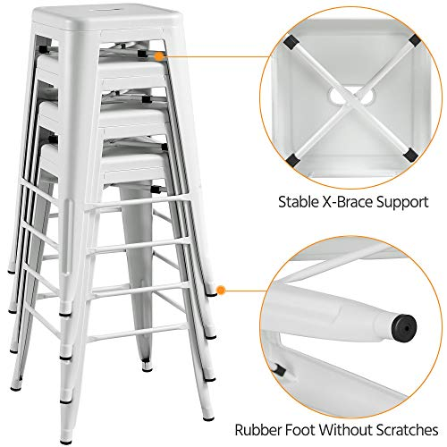 Topeakmart 30 Inches Metal Bar Stools High Backless Barstool Stackable Bar Height Stools Chairs White Set Of 4 0 4