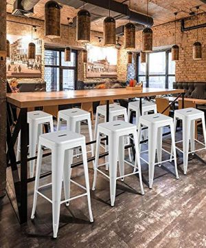 Topeakmart 30 Inches Metal Bar Stools High Backless Barstool Stackable Bar Height Stools Chairs White Set Of 4 0 5 300x360