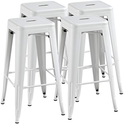Topeakmart 30 Inches Metal Bar Stools High Backless Barstool Stackable Bar Height Stools Chairs White Set Of 4 0