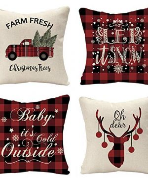 Tosewever Set Of 4 Decorative Christmas Throw Pillow Covers Black Red Plaid Farmhouse Linen 18 X 18 Inches Pillow Cushion Case For Sofa Couch Bed Home Outdoor Car 18 X 18 ChristmasPlaid 0 300x360
