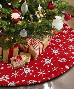 Townshine 48 Inch Red Christmas Tree Skirt Snowflakes Tree Skirt Double Layers Thick Xmas Tree Mat Holiday Party Decorations 0 300x360