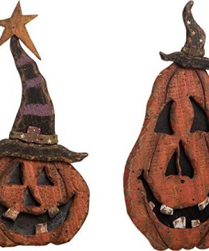 Transpac Imports Inc Jack O Lantern Pumpkin Rustic Orange 14 X 7 Plywood Halloween Figurines Set Of 2 0 300x360