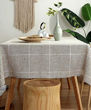 TruDelve Heavy Duty Cotton Linen Table Cloth For Square Tables Solid Embroidery Lattice Tablecloth For Kitchen Dinning Tabletop Decoration 52x52 Linen 0 1 300x360