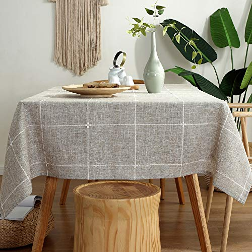 TruDelve Heavy Duty Cotton Linen Table Cloth For Square Tables Solid Embroidery Lattice Tablecloth For Kitchen Dinning Tabletop Decoration 52x52 Linen 0 1
