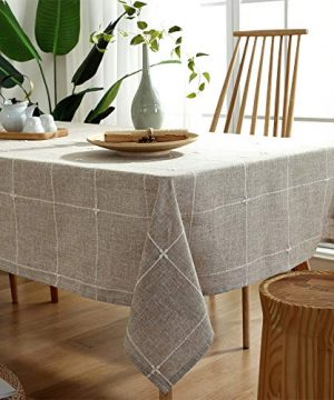 TruDelve Heavy Duty Cotton Linen Table Cloth For Square Tables Solid Embroidery Lattice Tablecloth For Kitchen Dinning Tabletop Decoration 52x52 Linen 0 2 300x360