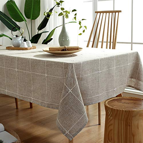 TruDelve Heavy Duty Cotton Linen Table Cloth For Square Tables Solid Embroidery Lattice Tablecloth For Kitchen Dinning Tabletop Decoration 52x52 Linen 0 2