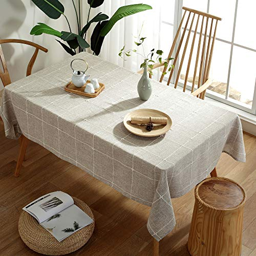 TruDelve Heavy Duty Cotton Linen Table Cloth For Square Tables Solid Embroidery Lattice Tablecloth For Kitchen Dinning Tabletop Decoration 52x52 Linen 0 3