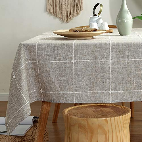 TruDelve Heavy Duty Cotton Linen Table Cloth For Square Tables Solid Embroidery Lattice Tablecloth For Kitchen Dinning Tabletop Decoration 52x52 Linen 0
