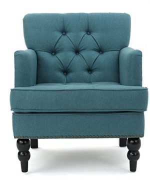 Tufted Club Chair Decorative Accent Chair With Studded Details Dark Teal 0 300x360