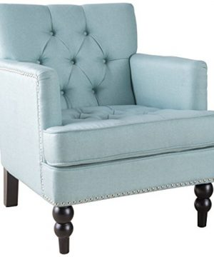 Tufted Club Chair Decorative Accent Chair With Studded Details Light Blue 0 300x360