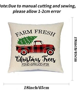 Ueerdand Christmas Pillow Covers Christmas Decorations Farmhouse Pillow Covers Set Of 4 Bufflo Plaid Cotton Linen Throw Cushion Cover 18 X 18 Inch Red And Black With Truck 0 300x360