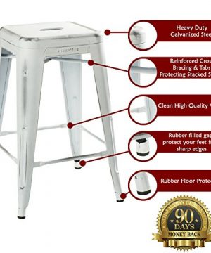 UrbanMod 24 Stool Set Of 4 By Distressed White Rustic Bar Stools Counter Height Stools 330lb Capacity Metal Stool Chair Stackable IndoorOutdoor Bar Stools For Kitchen Counter And Island 0 0 300x360