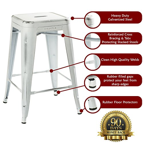 UrbanMod 24 Stool Set Of 4 By Distressed White Rustic Bar Stools Counter Height Stools 330lb Capacity Metal Stool Chair Stackable IndoorOutdoor Bar Stools For Kitchen Counter And Island 0 0