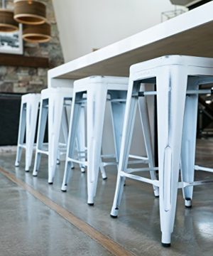 UrbanMod 24 Stool Set Of 4 By Distressed White Rustic Bar Stools Counter Height Stools 330lb Capacity Metal Stool Chair Stackable IndoorOutdoor Bar Stools For Kitchen Counter And Island 0 1 300x360
