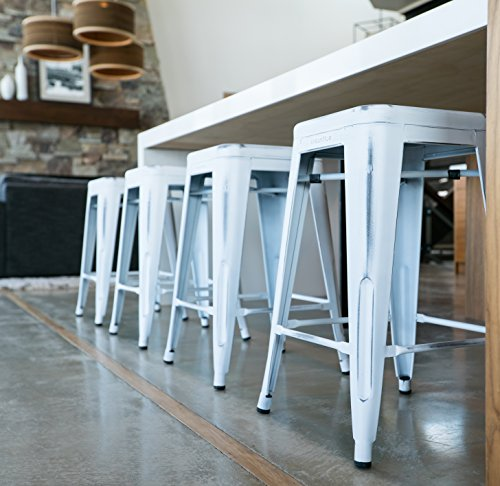 UrbanMod 24 Stool Set Of 4 By Distressed White Rustic Bar Stools Counter Height Stools 330lb Capacity Metal Stool Chair Stackable IndoorOutdoor Bar Stools For Kitchen Counter And Island 0 1