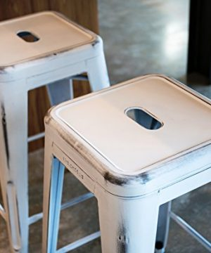 UrbanMod 24 Stool Set Of 4 By Distressed White Rustic Bar Stools Counter Height Stools 330lb Capacity Metal Stool Chair Stackable IndoorOutdoor Bar Stools For Kitchen Counter And Island 0 3 300x360