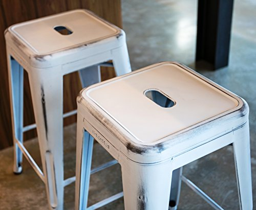 UrbanMod 24 Stool Set Of 4 By Distressed White Rustic Bar Stools Counter Height Stools 330lb Capacity Metal Stool Chair Stackable IndoorOutdoor Bar Stools For Kitchen Counter And Island 0 3