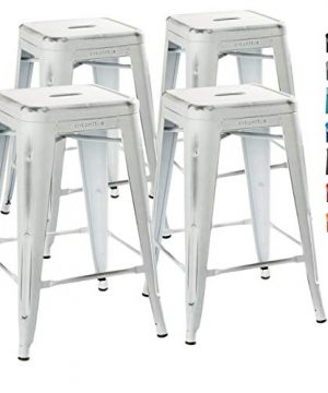 UrbanMod 24 Stool Set Of 4 By Distressed White Rustic Bar Stools Counter Height Stools 330lb Capacity Metal Stool Chair Stackable IndoorOutdoor Bar Stools For Kitchen Counter And Island 0 300x360