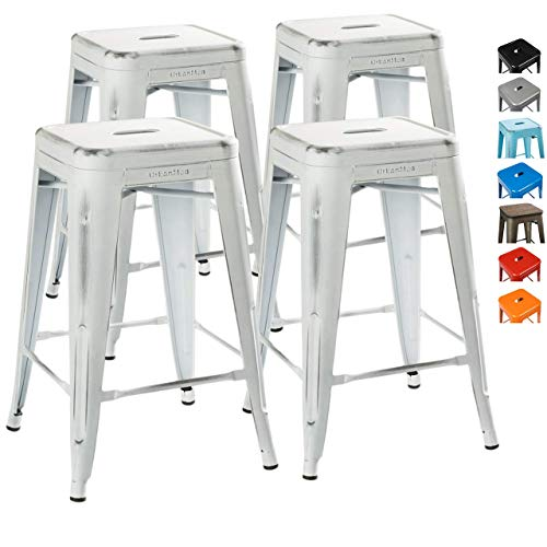 UrbanMod 24 Stool Set Of 4 By Distressed White Rustic Bar Stools Counter Height Stools 330lb Capacity Metal Stool Chair Stackable IndoorOutdoor Bar Stools For Kitchen Counter And Island 0