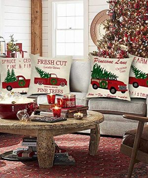 Ussap Set Of 4 Christmas Tree Farm Vintage Red Truck Winter Holiday Decoration Merry Xmas Farmhouse Decorative Throw Pillow Cover Cushion Case For Sofa Couch Home Decor Cotton Linen 18 X 18 0 0 300x360