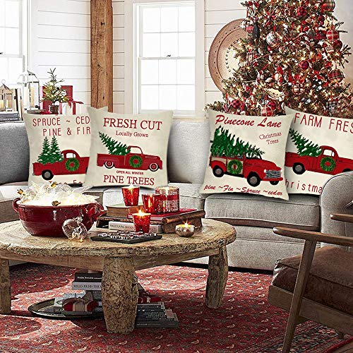 Ussap Set Of 4 Christmas Tree Farm Vintage Red Truck Winter Holiday Decoration Merry Xmas Farmhouse Decorative Throw Pillow Cover Cushion Case For Sofa Couch Home Decor Cotton Linen 18 X 18 0 0