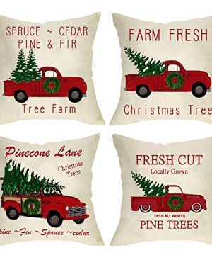 Ussap Set Of 4 Christmas Tree Farm Vintage Red Truck Winter Holiday Decoration Merry Xmas Farmhouse Decorative Throw Pillow Cover Cushion Case For Sofa Couch Home Decor Cotton Linen 18 X 18 0 300x360