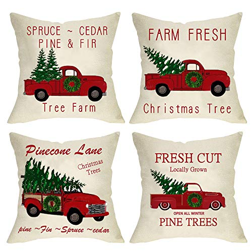 Ussap Set Of 4 Christmas Tree Farm Vintage Red Truck Winter Holiday Decoration Merry Xmas Farmhouse Decorative Throw Pillow Cover Cushion Case For Sofa Couch Home Decor Cotton Linen 18 X 18 0