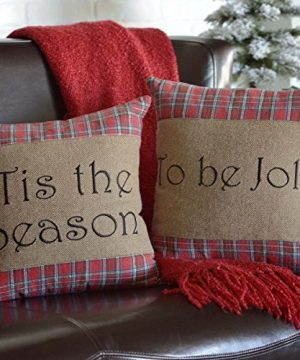 VHC Brands Gavin Tis The Season To Be Jolly Text Textured Cotton Rustic Christmas Decor Appliqued Square Pillow 16x16 Filled Sham Stone 0 300x360