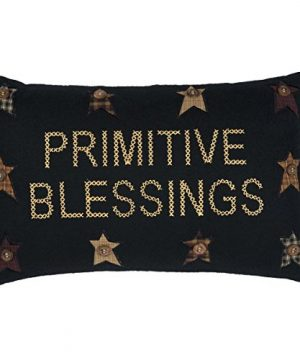 VHC Brands Heritage Farms Primitive Blessings Pillow 14x22 Country Primitive Bedding Accessory Black 0 300x360