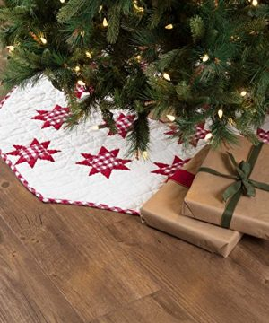 VHC Brands Holiday Decor Emmie White Patchwork Tree Skirt 48 Red 0 300x360