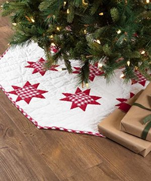 VHC Brands Holiday Decor Emmie White Patchwork Tree Skirt 60 Red 0 300x360