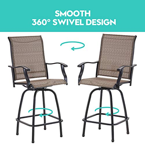 VICLLAX Outdoor Swivel Bar Stools Set Of 4 All Weather Patio Bar Height Chairs 0 3