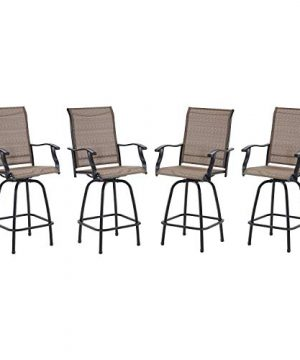 VICLLAX Outdoor Swivel Bar Stools Set Of 4 All Weather Patio Bar Height Chairs 0 300x360