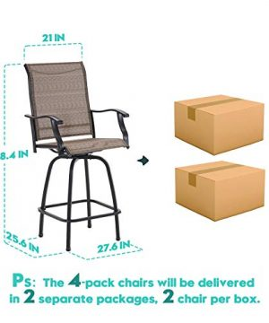 VICLLAX Outdoor Swivel Bar Stools Set Of 4 All Weather Patio Bar Height Chairs 0 5 300x360
