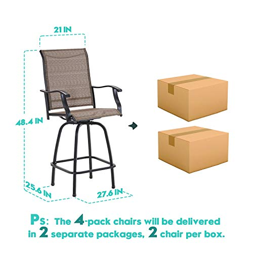 VICLLAX Outdoor Swivel Bar Stools Set Of 4 All Weather Patio Bar Height Chairs 0 5
