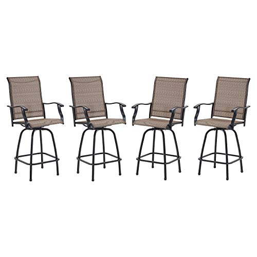 VICLLAX Outdoor Swivel Bar Stools Set Of 4 All Weather Patio Bar Height Chairs 0