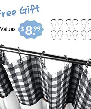 VIEIFN Farmhouse Shower Curtains For The Bathroom With 12 HooksCountry Style Plaid Stitching Shower Curtain With Rustic Buttons Farmhouse Bathroom DecorBlack And White72 X 72 0 0 300x360